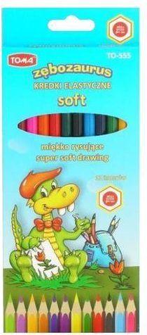 Toma Kredki ołówkowe elastyczne Zębozaurus 12 kolorów - WIKR-952345 1