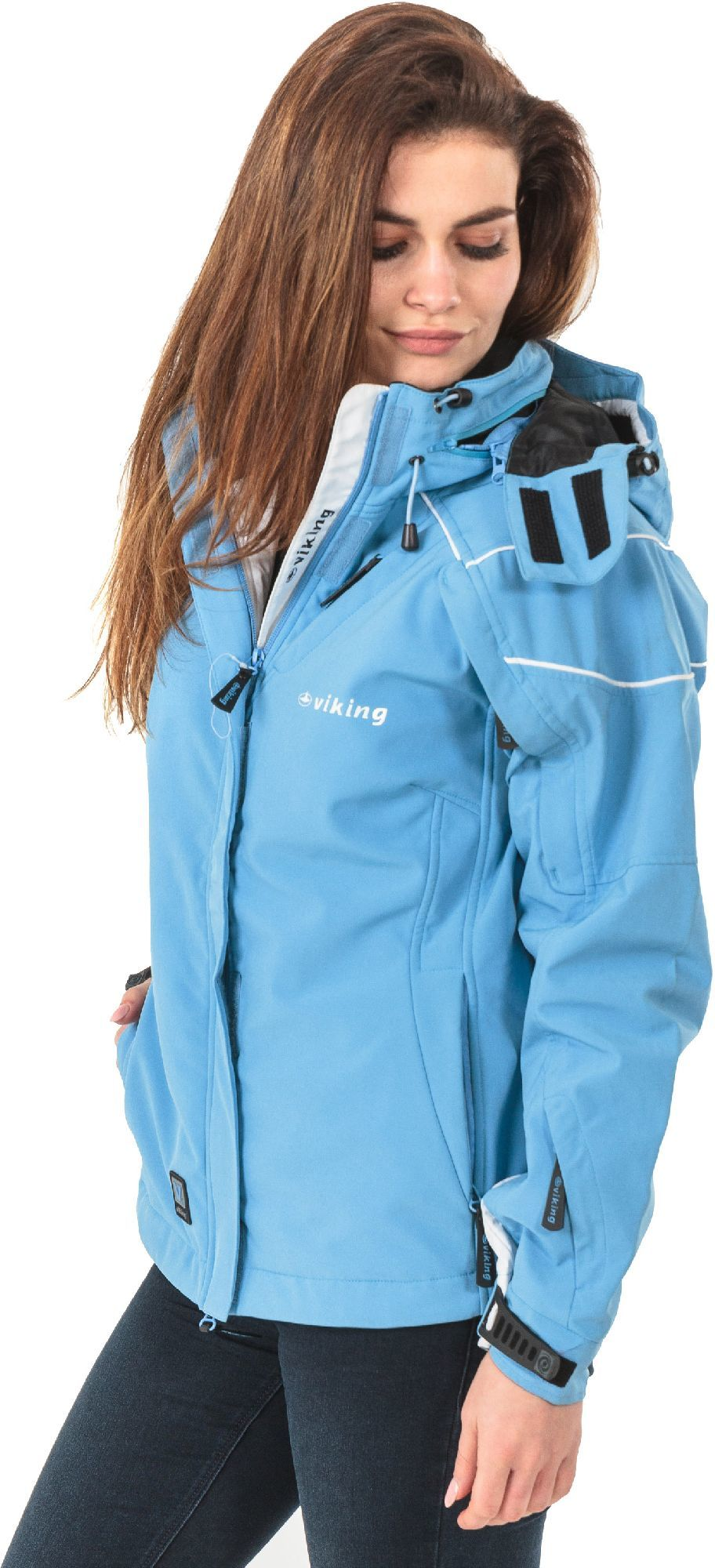 kurtka narciarska damska ziełono nieboeska