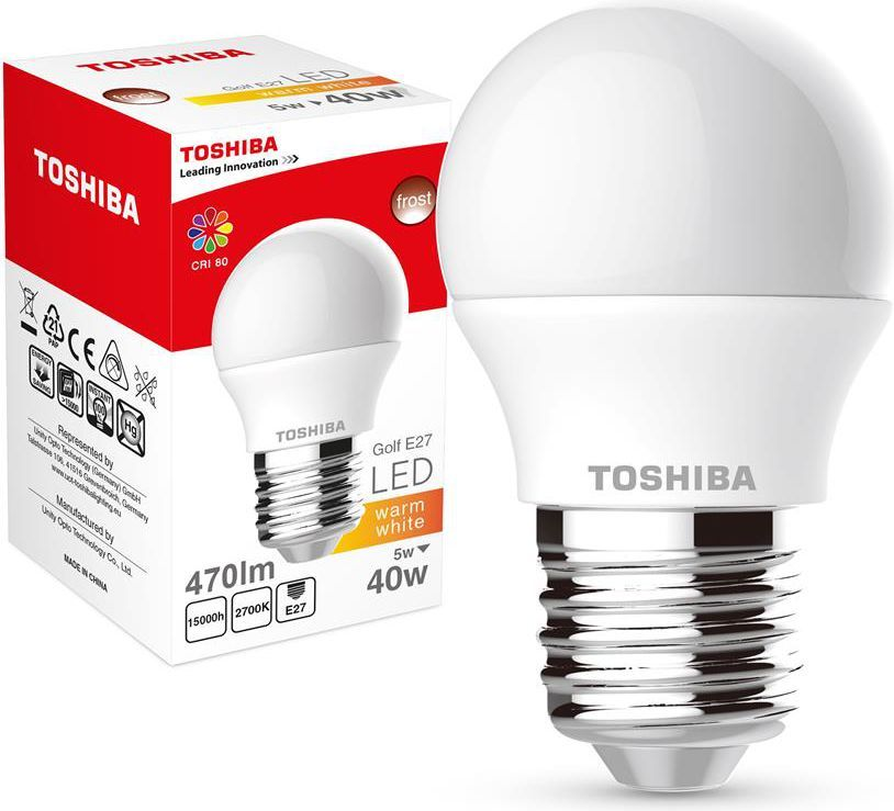 Toshiba LED Golf 5W, 470lm,, 2700K, 80Ra, E27 (01301315137A) 1