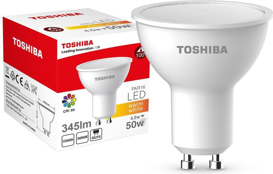 Toshiba LED PAR16 4.5W, 345lm, 3000K, 80Ra, GU10 (00601315133A) 1
