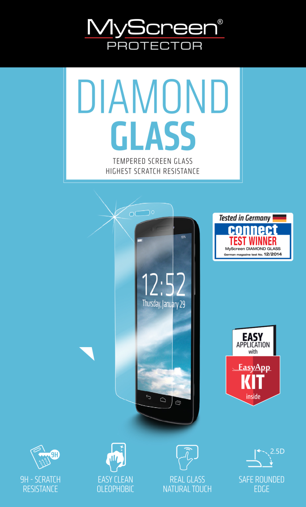"MyScreen Protector DIAMOND HybridGLASS 5"" EA Kit Lenovo Moto Z (001585860000) 1"