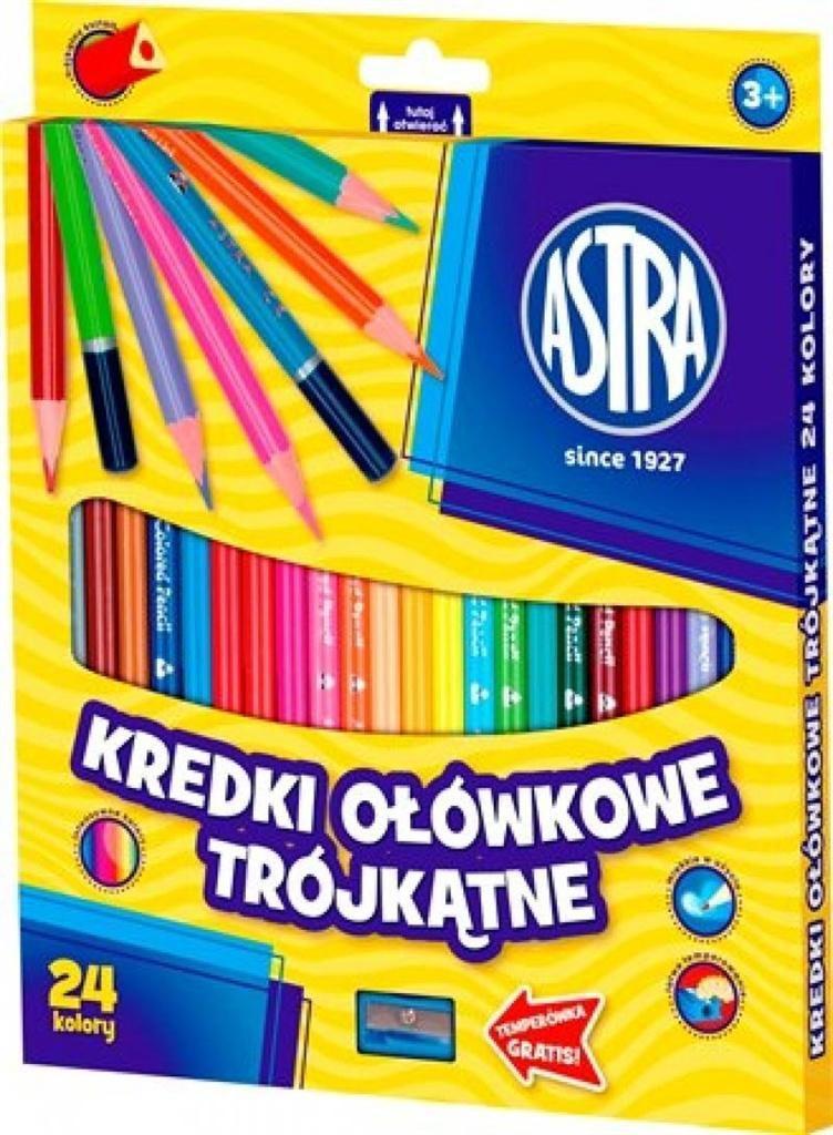 Astra Kredki ołówkowe trójkątne 24 kolory (058993) 1