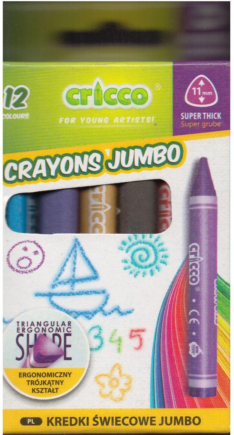 Cricco Kredki świecowe jumbo Cricco 12 kolorów. - WIKR-1013974 1