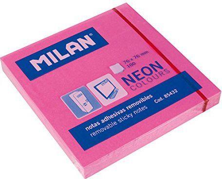 Milan Karteczki neonowe 75x75 mm różowe 1