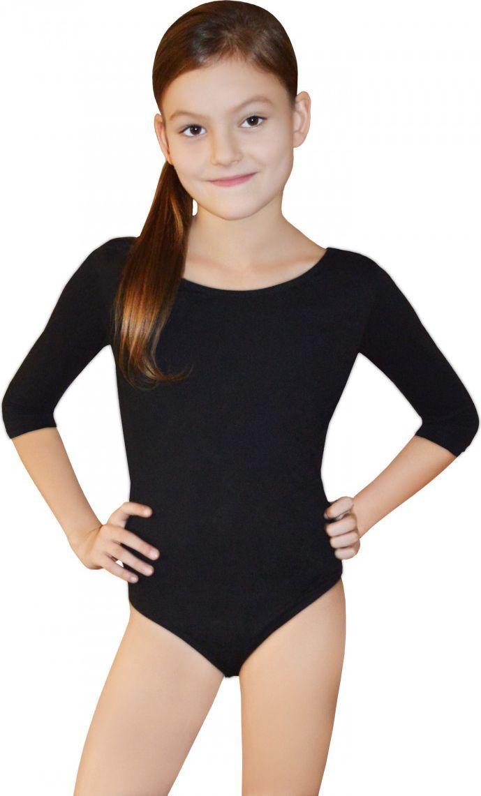 Gwinner Body dziewczęce BODYSUIT GIRLS ¾ SLEEVE LEOTARD Czarne (134) 1