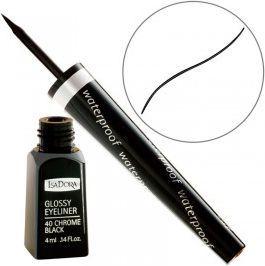 IsaDora Glossy Eyeliner Waterproof liner w pędzelku 40 Chrome Black 3,7ml 1