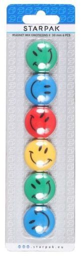 Starpak Magnesy kolorowe emotikony 30mm 1
