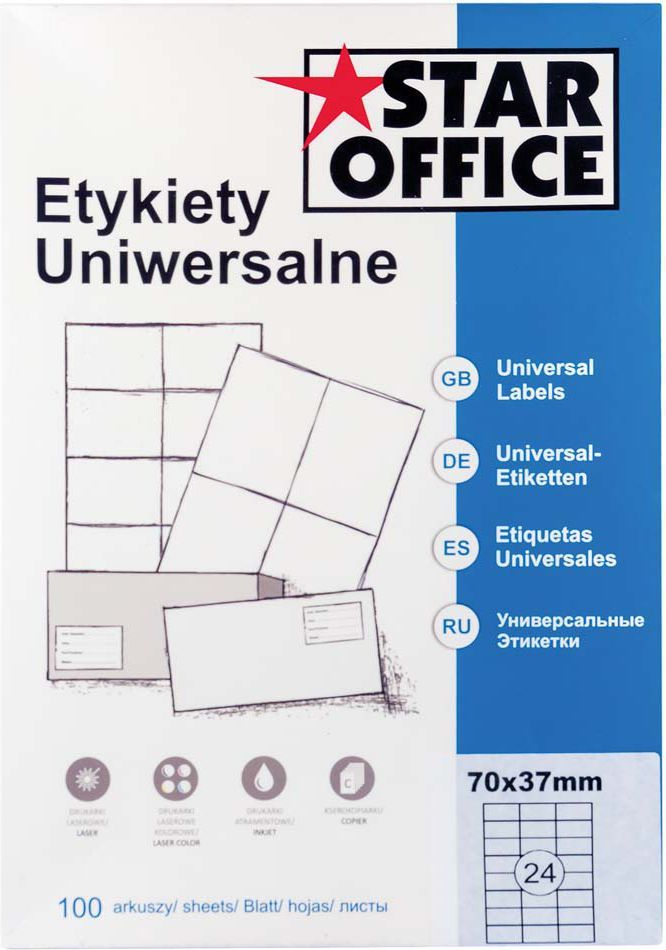 Star Office ETYKIETA A4 70X37 (100ARK)(100 arkuszy) 1