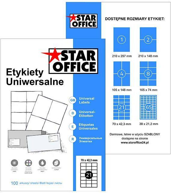 Star Office A4 70X42,3 (100 arkuszy) (2100 etykiet) (EYA-1A-A05SO) 1