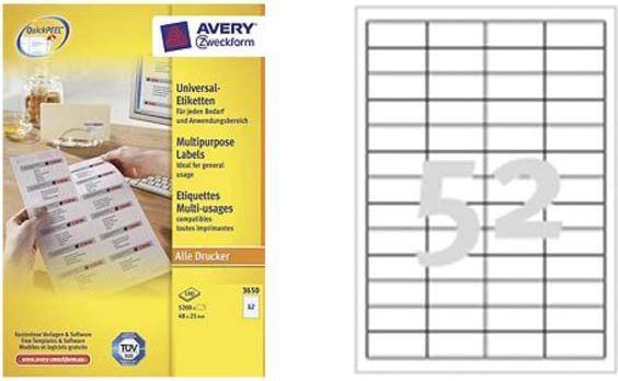 Avery Zweckform ETYK.ZF 3650 48X21.MARGI./5200/ ETYKIETA - 3650 1