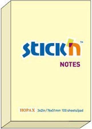 Stickn Notes samoprzylepny żółty pastelowy 76x51mm (205549) 1