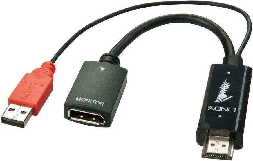Adapter AV Lindy DisplayPort USB HDMI, Czarny (38147) 1