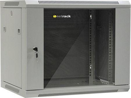 """Szafa NetRack wisząca 19"""", 9U/600x450mm – popiel, drzwi szklane, otwierane boki - 019-090-645-021 1"""
