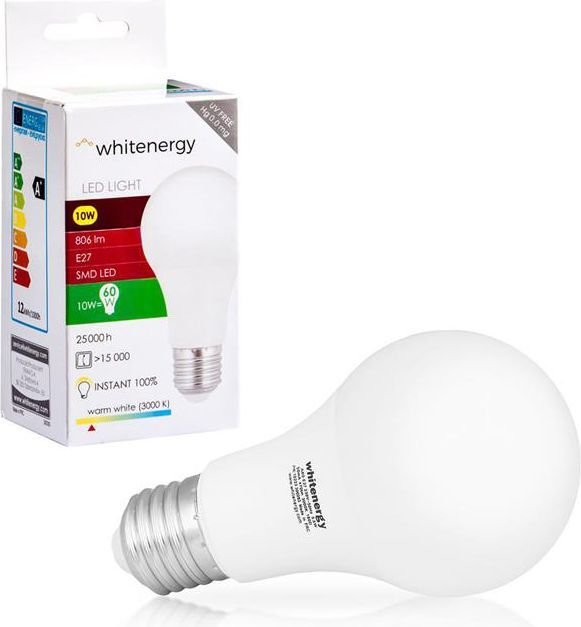 Whitenergy żarówka LED E27, 9 x SMD 2835, 10W, ciepła biała, A60 (10389) 1