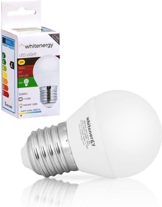 Whitenergy żarówka LED E27, 10 x SMD 3528, 5W, ciepła biała, kula, G45 (10361) 1