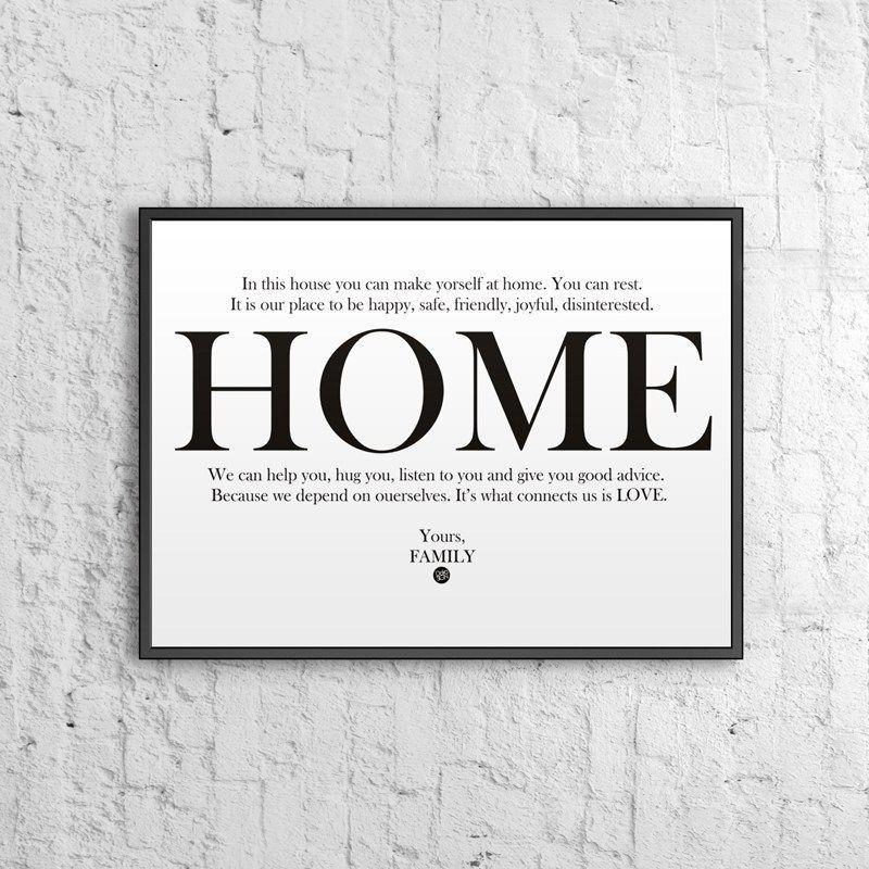 Dekosign Plakat Dekoracyjny 50x70 Cm Home Biało Czarny Ds Pl12 0 Id Produktu 1486152
