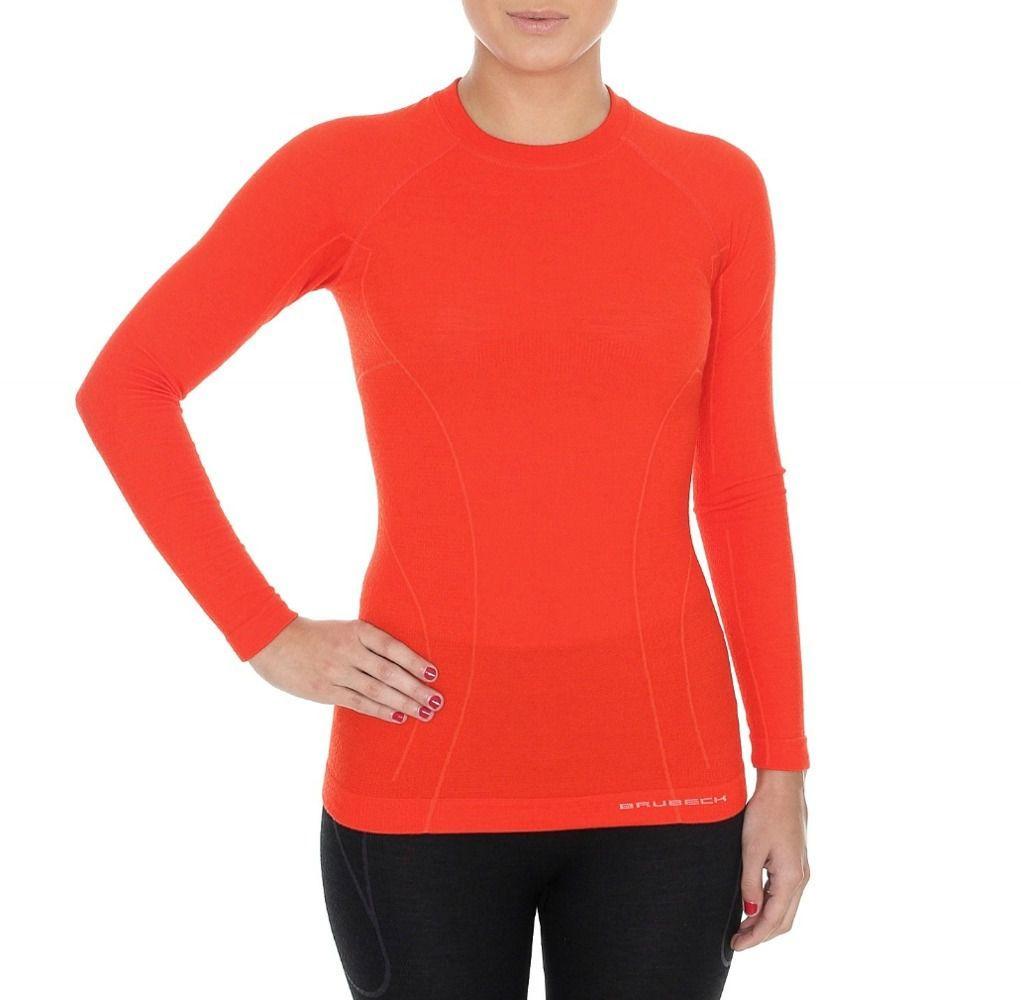 8737c7a77da125 Brubeck Koszulka damska z długim rękawem Active Wool czerwona r. XL  (LS12810) w Sklep-presto.pl
