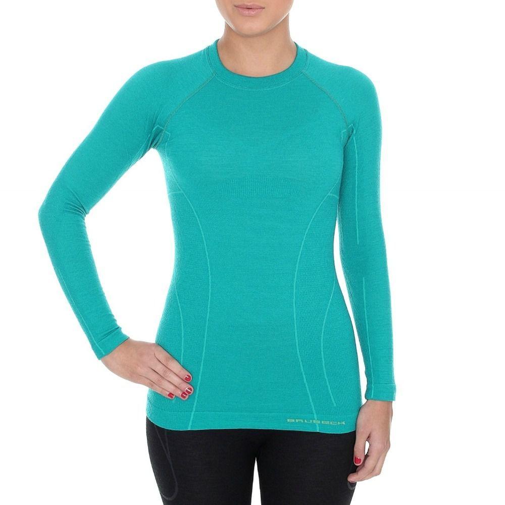 97389403f22e3c Brubeck Koszulka damska z długim rękawem Active Wool niebieska r. S  (LS12810) w Sklep-presto.pl