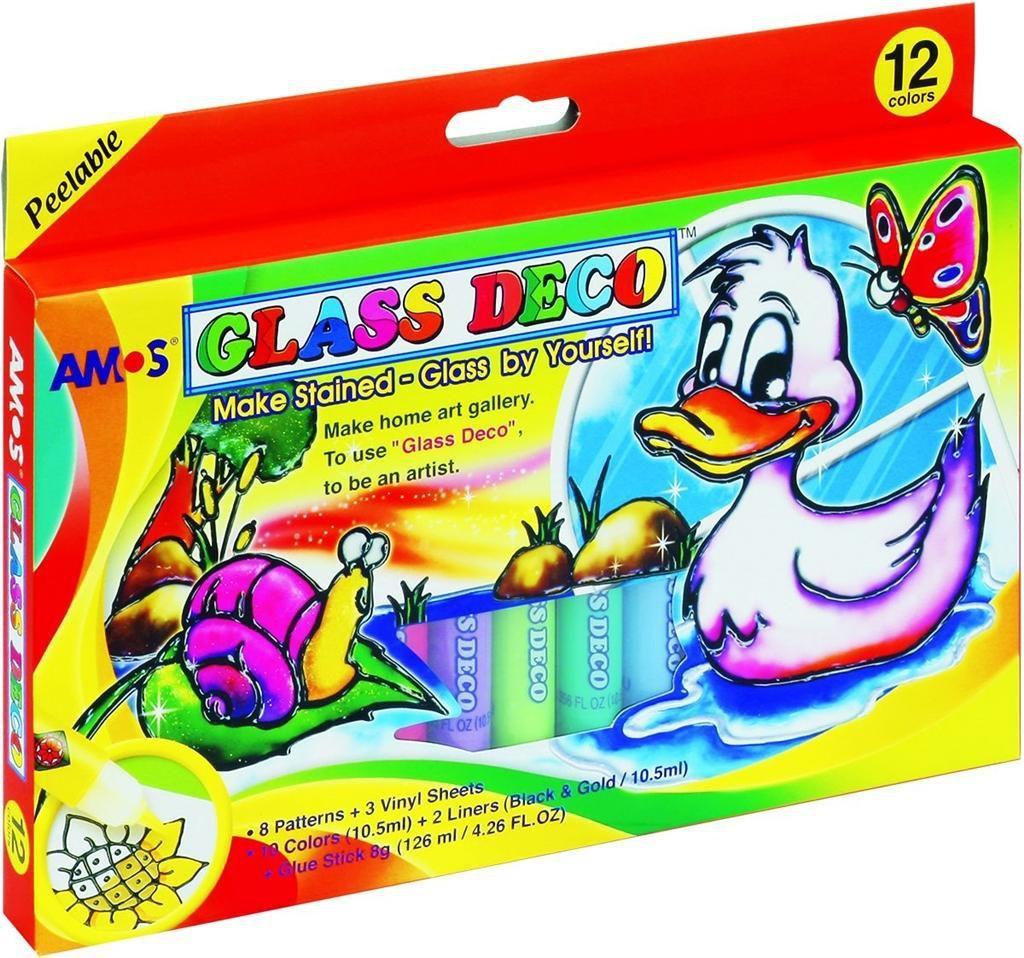 Amos Farby Witrażowe Glass Deco 12 Kolorów Blister (134300) 1