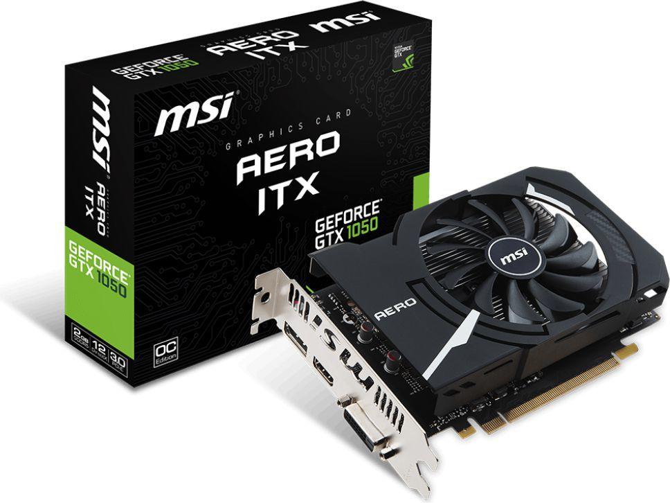 Karta graficzna MSI GeForce GTX 1050 Aero ITX OCV1 2GB GDDR5 (128 bit), DVI-D, HDMI, DisplayPort, BOX (GTX 1050 AERO ITX 2G OCV1) 1