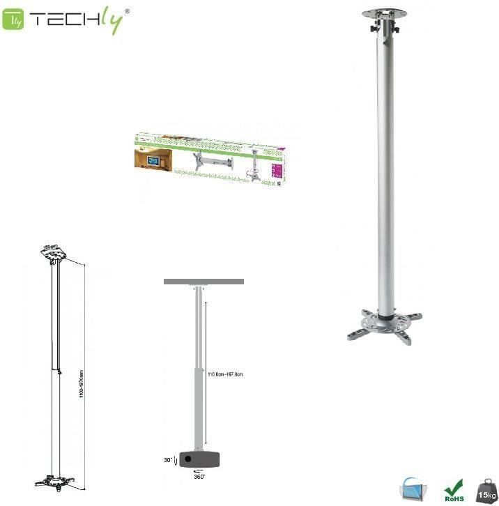 Uchwyt do projektorów Techly Ramię 110-190 cm, sufitowe, srebrne (301597) 1