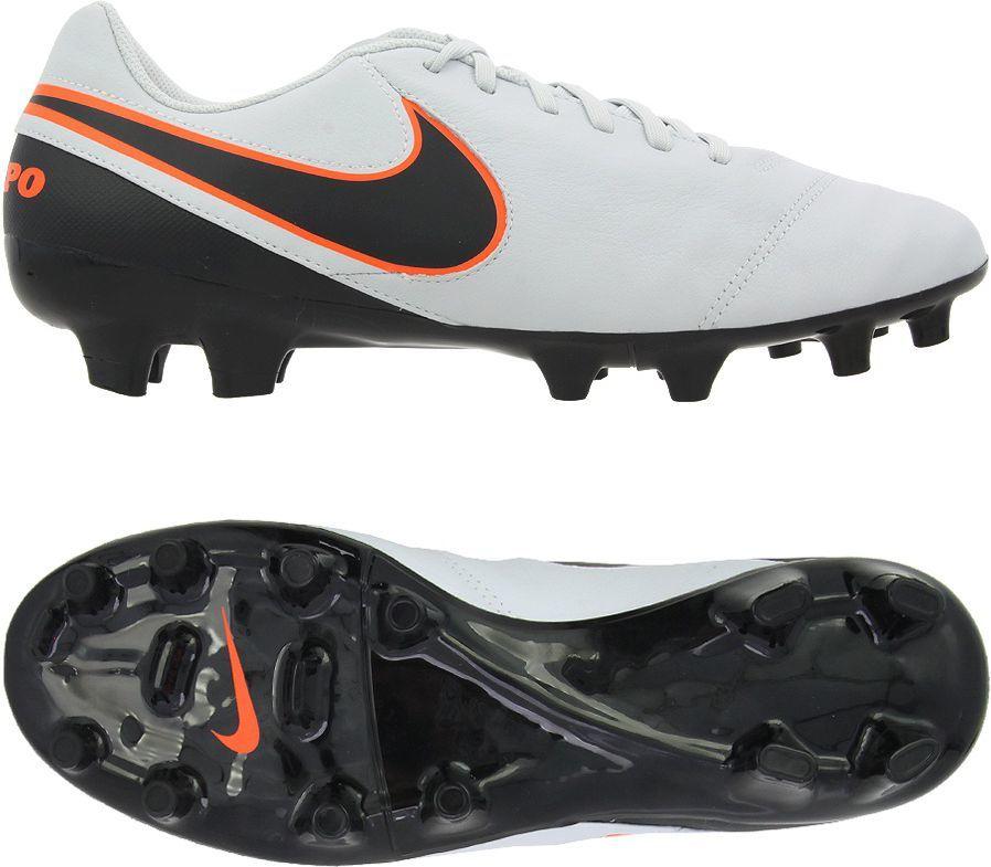 Nike Buty piłkarskie Tiempo Genio II Leather FG biało czarne r. 41 (819213 001) w Sklep presto.pl