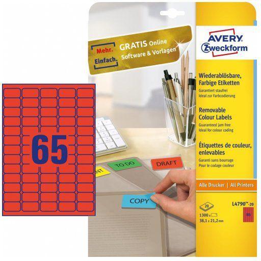 Avery Zweckform Usuwalne etykiety kolorowe 38.1 x 21.2 mm czerwone (L4790-20) 1