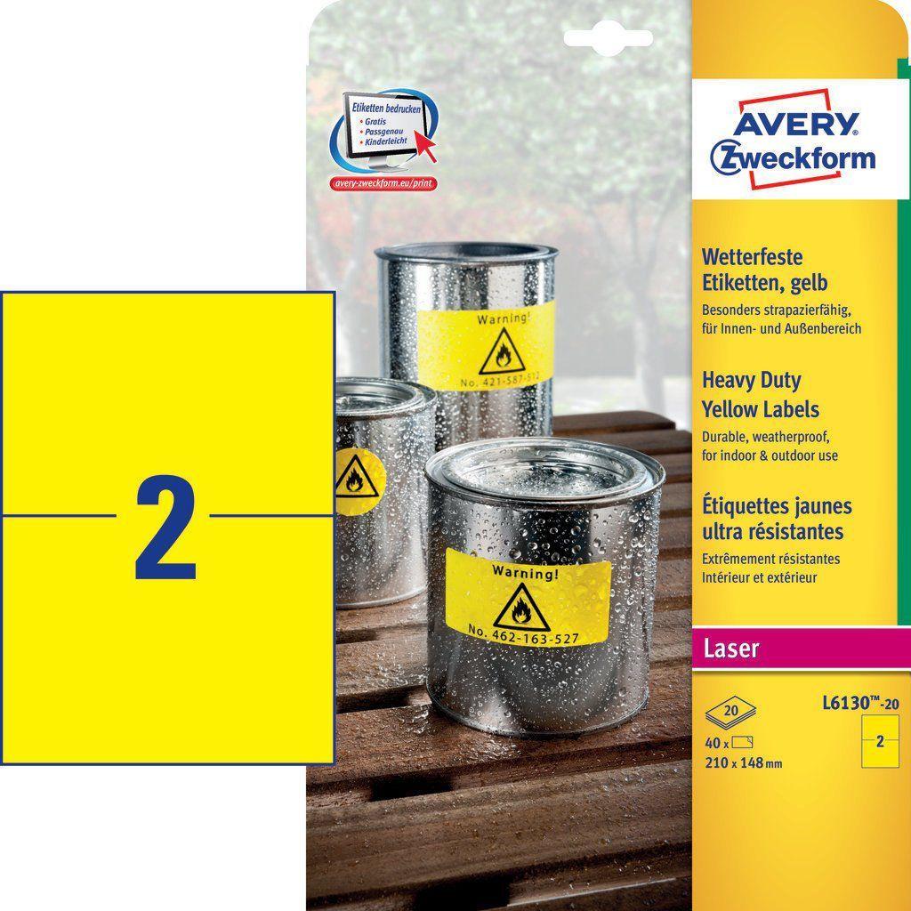 Avery Zweckform Etykiety wodoodporne Heavy Duty 210 x 148 mm żółty (L6130-20) 1