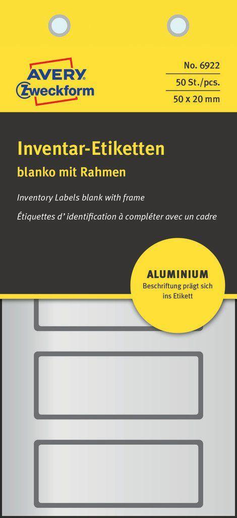 Avery Zweckform Tabliczki znamionowe aluminiowe 50 x 20 mm (6922) 1