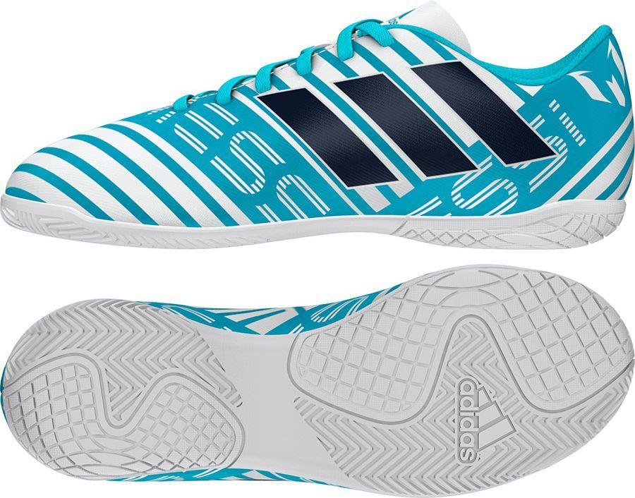 Adidas Buty piłkarskie Nemeziz Messi 17.4 IN Jr biało niebieskie r. 29 (S77208) ID produktu: 1575130