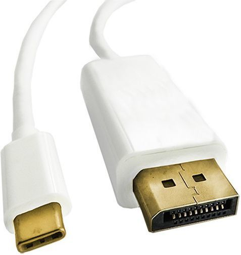 Kabel USB Qoltec USB-C DisplayPort, 1m, Biały (50412) 1