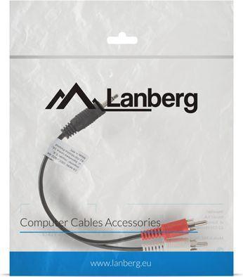 Kabel Lanberg Jack 3.5mm - RCA (Cinch) x2 0.2m czarny (CA-MJRC-10CC-0002-BK) 1