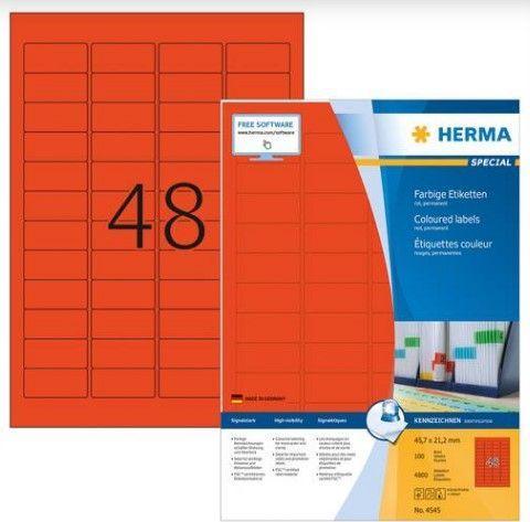 Herma Kolorowe etykiety A4, 45,7 x 21,2 mm, czerwony, trwała przyczepność - 4545 1