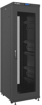 """Szafa Lanberg stojąca 19"""" 37U 600X800 czarna, perforowana, LCD, FLAT PACK (FF02-6837L-23B) 1"""