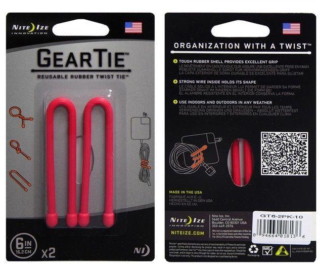 Organizer Nite Ize Zestaw linek Gear Tie Original 6'' gumowy czerwony 2 sztuki Nite Ize (GT6-2PK-10) 1