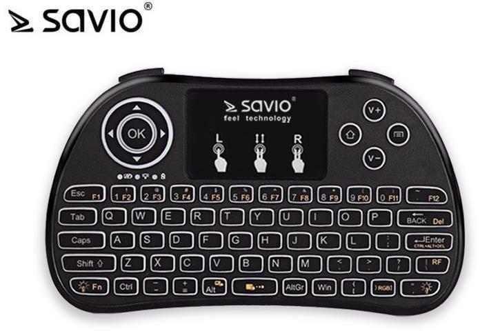 Klawiatura Savio KW-02 Bezprzewodowa Czarna US (KW-02) 1