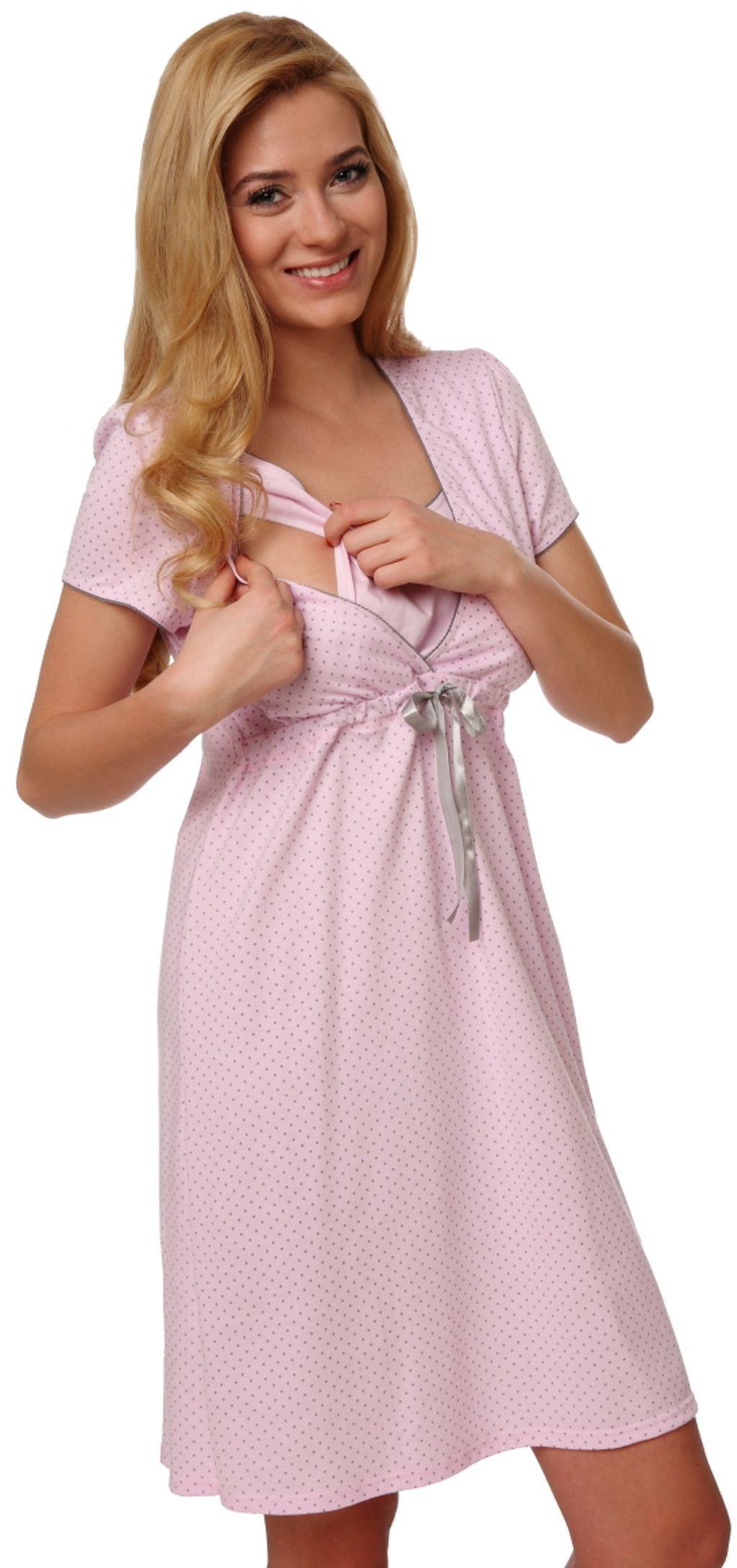 Italian fashion Koszula nocna felicita krótki rękaw różowa r. L 1