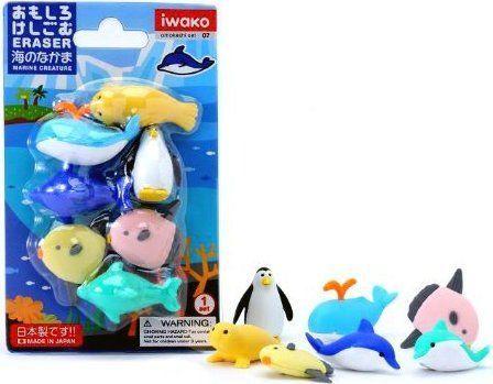 Iwako Zestaw gumek do ścierania - Zwierzęta morskie (258955) 1