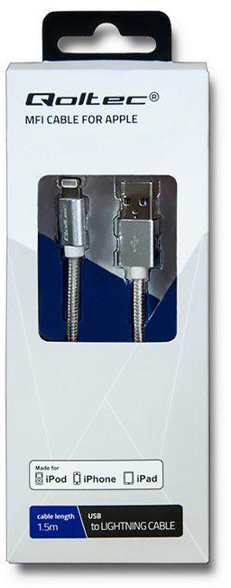 Kabel USB Qoltec USB A -> Lightning, (M/M), Srebrny, 1.5m (50424) 1