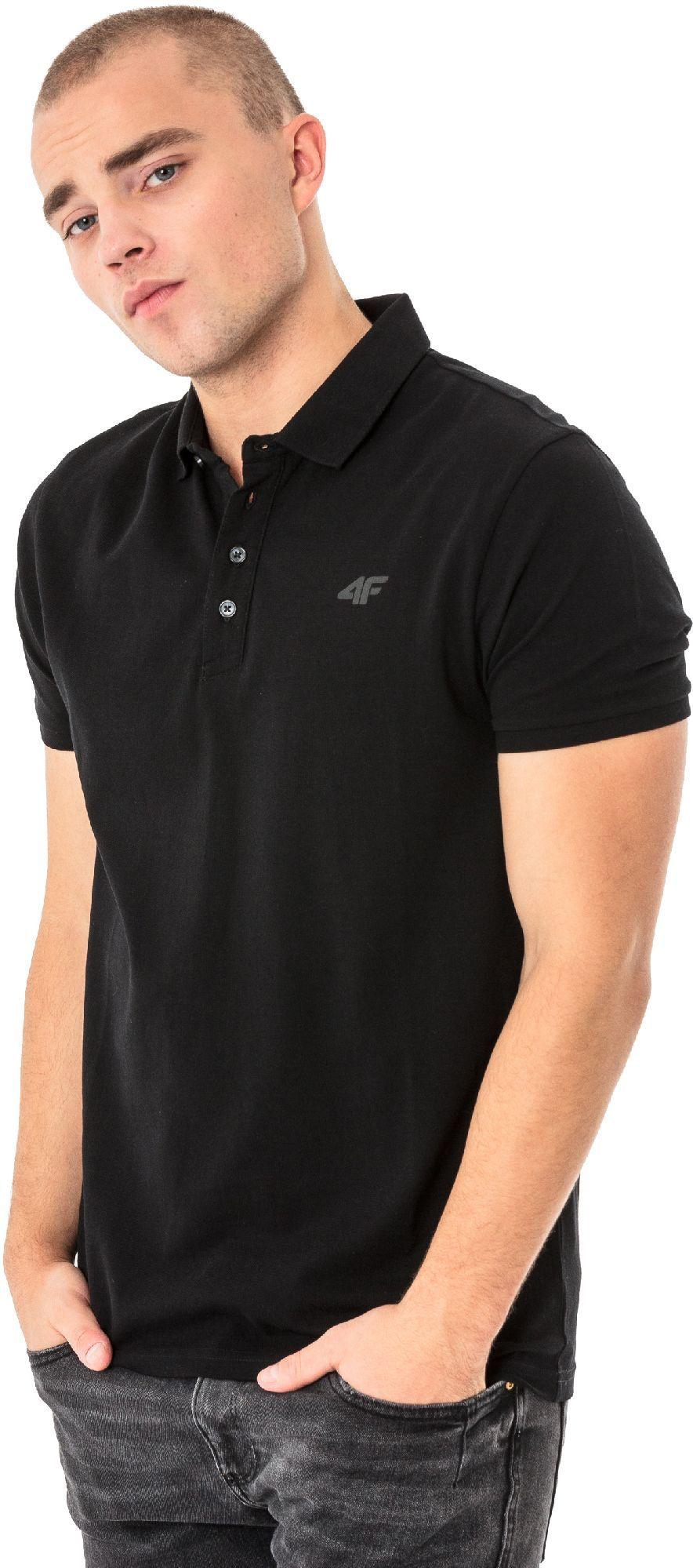 a7b2a2e4b0e76a 4f Koszulka polo męska H4L18-TSM024 czarna r. XL w Sklep-presto.pl