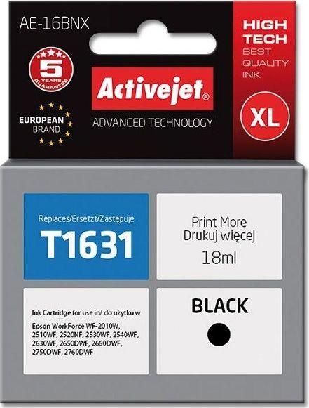 Activejet Tusz AE-16BNX (do drukarki Epson, zamiennik T1631 supreme 18ml czarny) - AE-16BNX 1