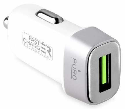 Ładowarka Puro Uniwersalna ładowarka samochodowa USB 2.4A (FCMCHUSB24CWHI) 1