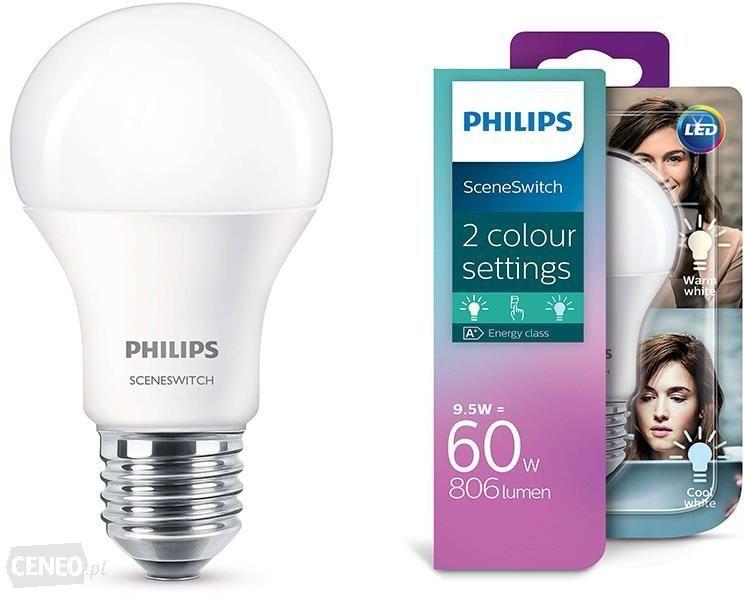 Philips Żarówka LED 9,5W SSW (60W) A60 E27 WW-CW FR ND 1BC/4 806lm 2700K - 4000K SceneSwitch (929001264101) 1