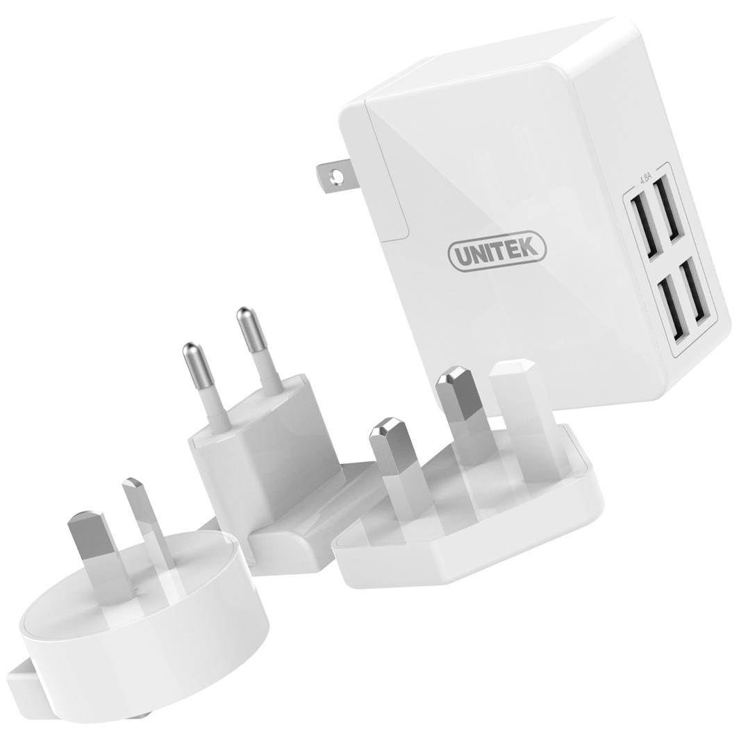 Ładowarka Unitek Y-PW10001 zasilacz sieciowy 4x USB EU/US/UK/AU 1