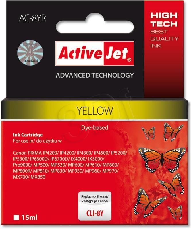 Activejet AC-8YR tusz yellow do drukarki Canon (zamiennik CLI-8Y) (ACR-8Y) 1