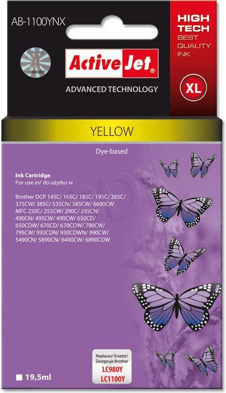 Activejet tusz AB-1100YNX / LC-1100Y (yellow) 1