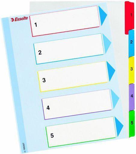 Esselte Przekładki plastikowe A5- 5 kart 1