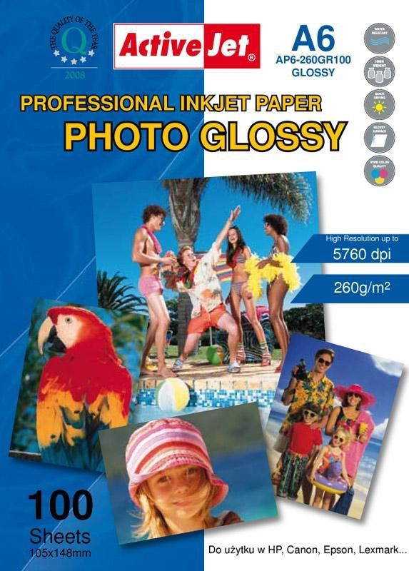 Activejet Papier fotograficzny do drukarki A6 (AP6260GR100) 1