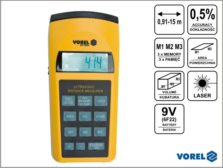 Vorel Dalmierz ultradźwiękowy z laserem 81782 1