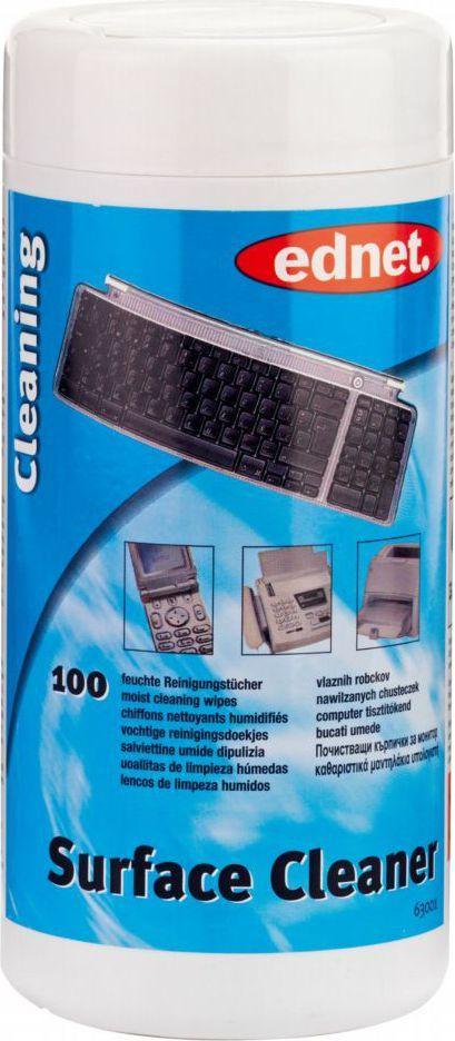 Ednet Chusteczki nawilżane do czyszczenia powierzchni plastikowych 100 szt. 1